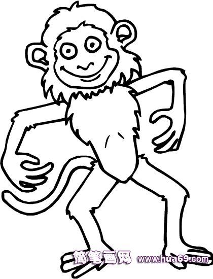 微笑的小猴子 简笔画,画画 网
