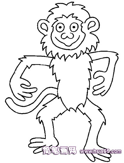 做操的小猴子简笔画,画画网