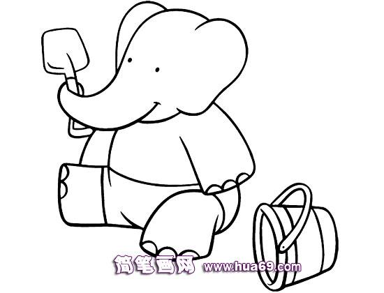 大象玩沙子的简笔画,画画网