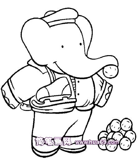 大象一家人在玩耍的简笔画