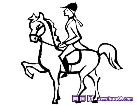 简笔画:骑士和马,画画网