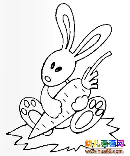 兔子吃萝卜简笔画3
