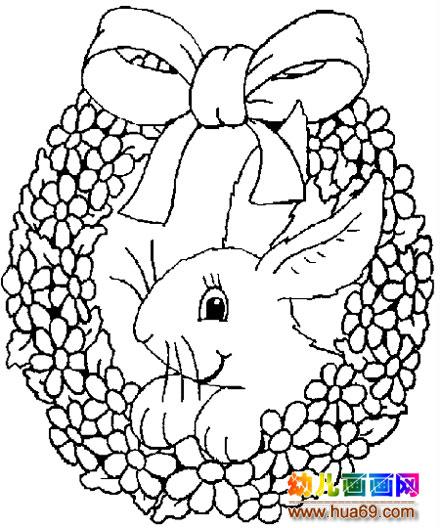 小兔子花篮简笔画1