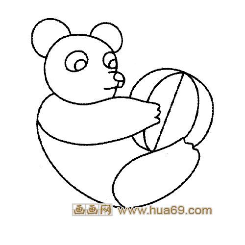 玩球的大熊猫简笔画,画画网