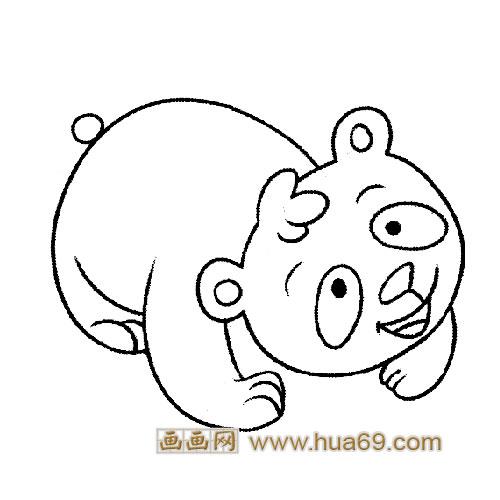 淘气的大熊猫宝宝简笔画7