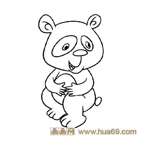 淘气的大熊猫宝宝简笔画4