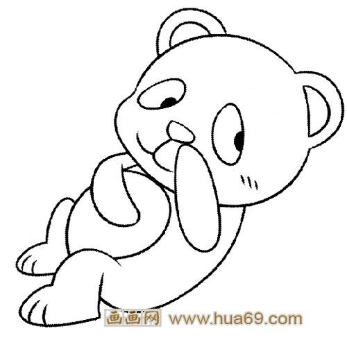 淘气的大熊猫宝宝简笔画1