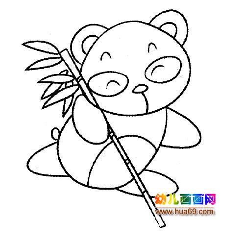 吃竹子的大熊猫宝宝简笔画1