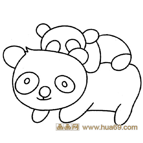 大熊猫母女简笔画,画画网