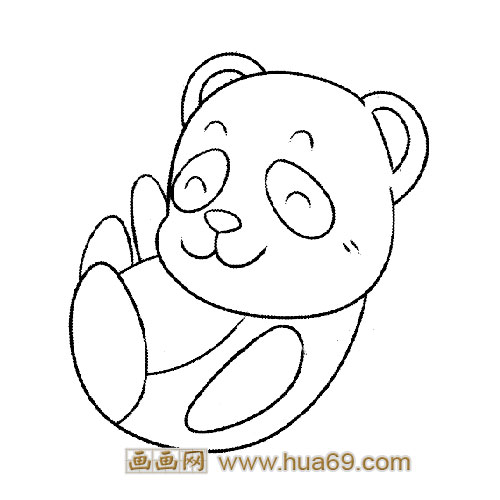 玩耍的小熊猫简笔画3,画画网
