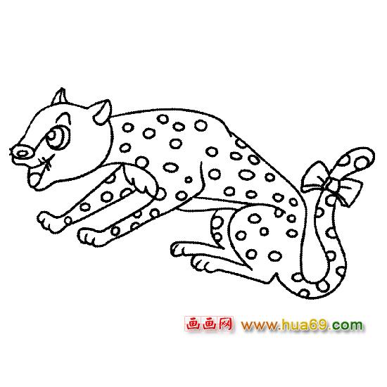动物简笔画 漂亮的豹子