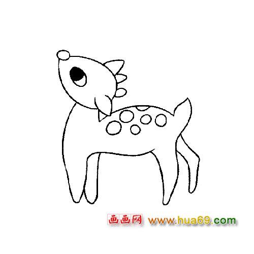 想妈妈的小梅花鹿动物简笔画