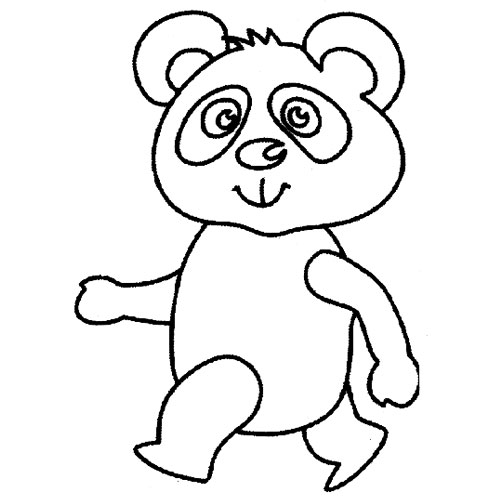 走路的大熊猫│动物简笔画图片