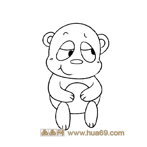 动物简笔画:吃竹子的小熊猫