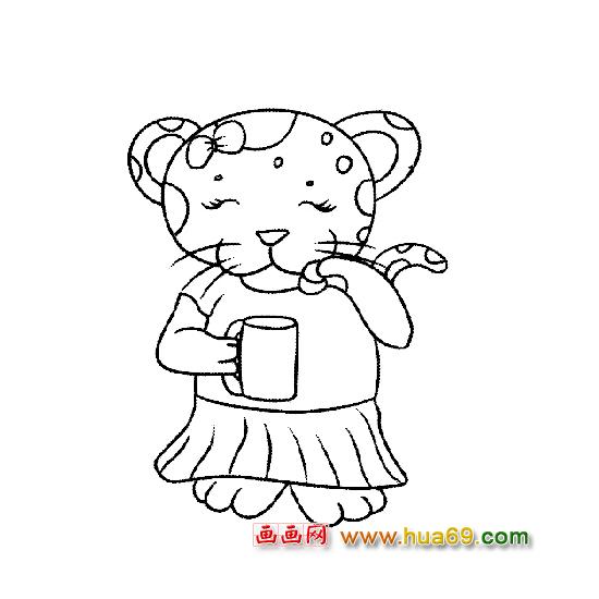 动物简笔画 喝水的豹小姐,画画网