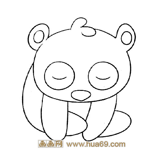 乖乖睡觉的小熊猫简笔画