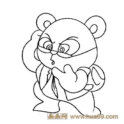 动物简笔画:上学的小熊猫