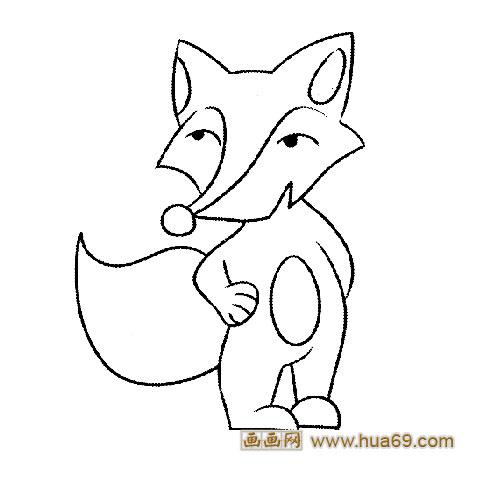 动物简笔画:掐腰的狐狸