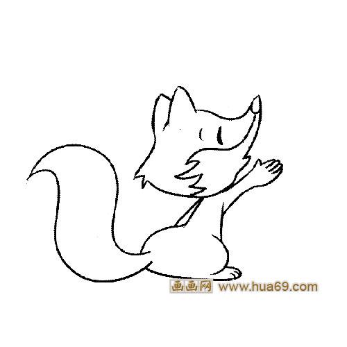 开心的狐狸动物简笔画