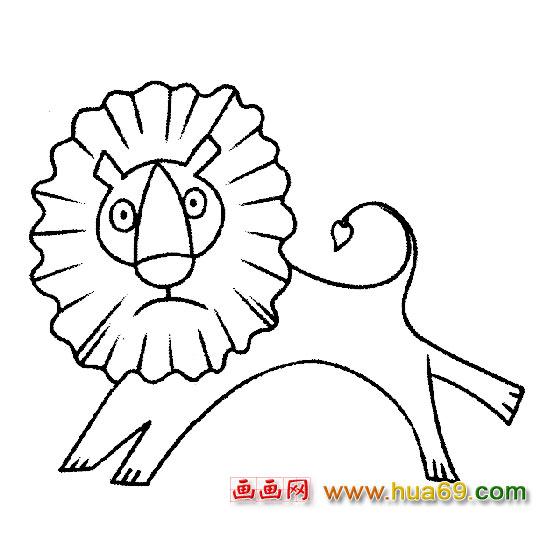 动物简笔画:卡通狮子1