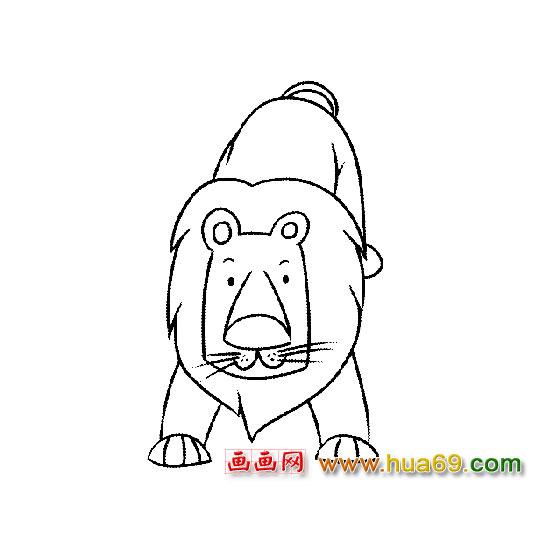 动物简笔画:匍匐的狮子,画画网