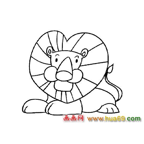 动物简笔画:卧倒的狮子1