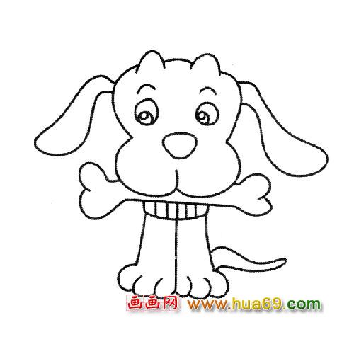 卡通肉骨头图片大全; 简笔画:吃骨头的小狗1