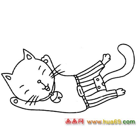 倒在 地上 的小猫简笔画2