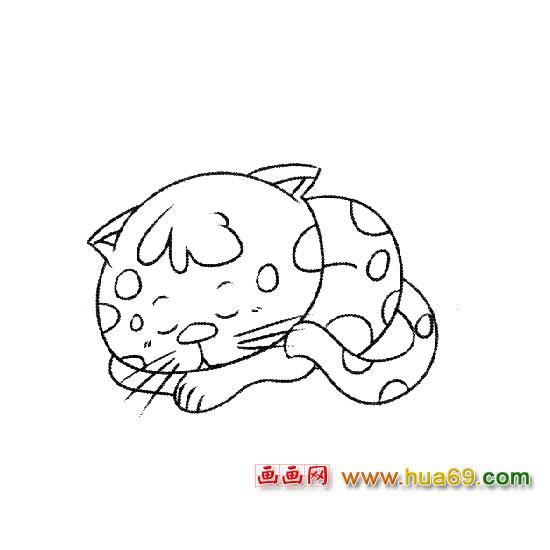 简笔画:睡觉的小猫3; 趴着睡觉的猫简笔画_美女吧;