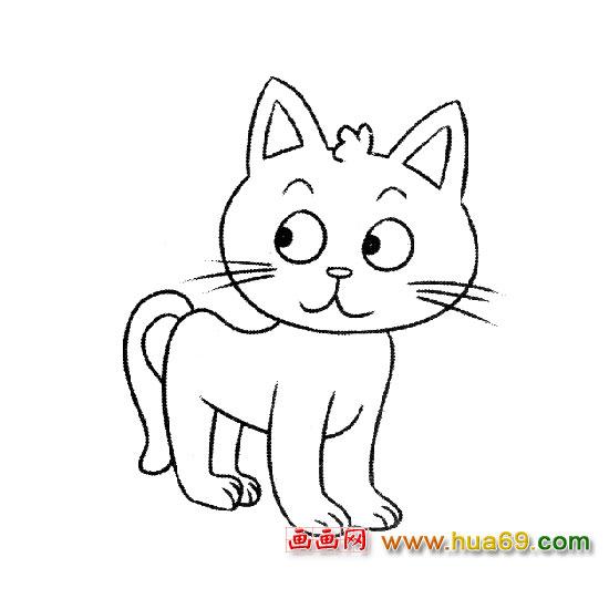 简笔画│乖巧的小猫3,画画网