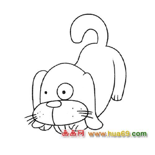 动物简笔画:端盆子的小狗