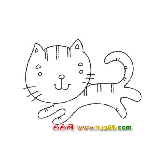 小猫简笔画:奔跑的小猫1