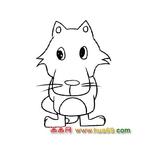 简笔画:开心的大灰狼4