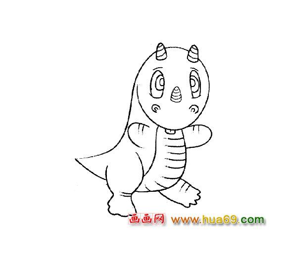 可爱的小恐龙(简笔画)1