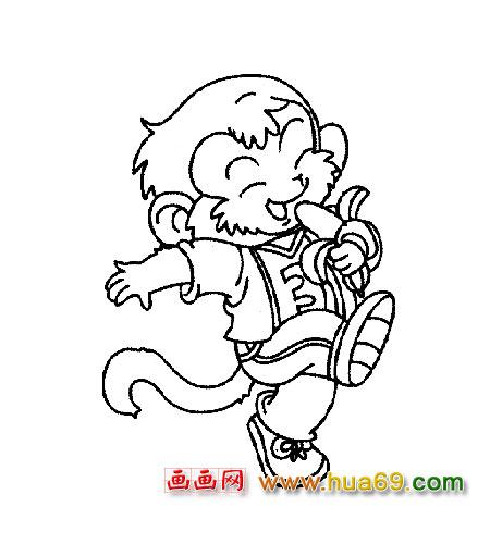 吃香蕉的猴子简笔画1