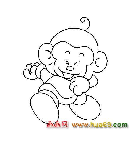 简笔画 小猴子跑步1