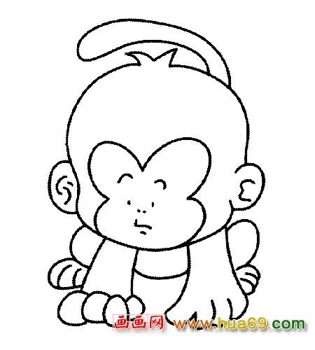 趴在地上的小猴子3 简笔画