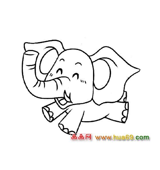如何画卡通大象简笔画图片教程第3张