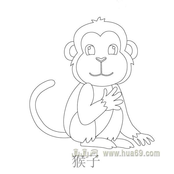 儿童简笔画:长尾巴的猴子