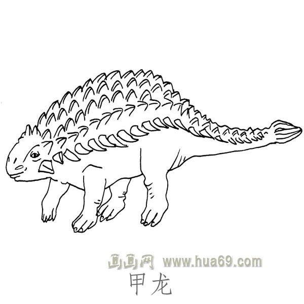 儿童简笔画恐龙:甲龙,画画网