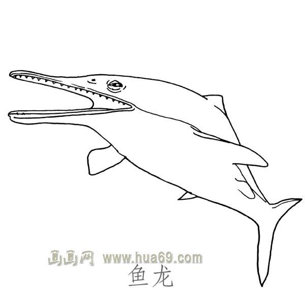兒童簡筆畫作品:可怕的魚龍