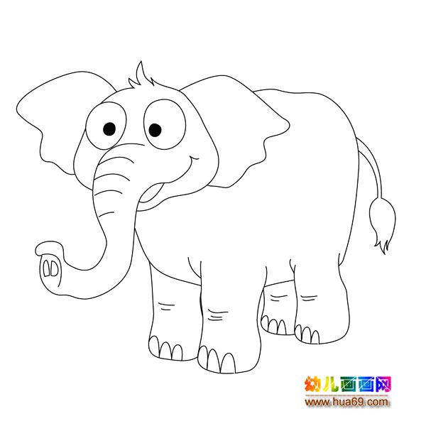 儿童简笔画:开心的大象,画画网
