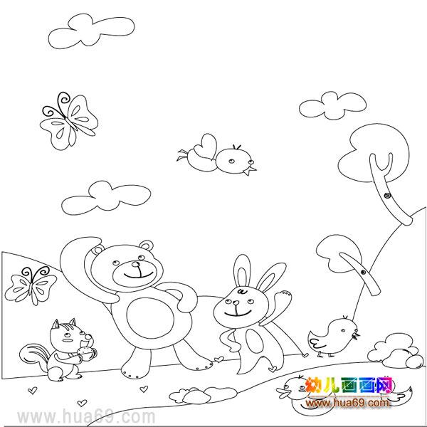 儿童简笔画 小兔小熊在玩耍