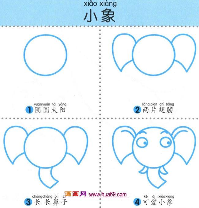 幼儿简笔画:四步画大象娃娃的图解教程