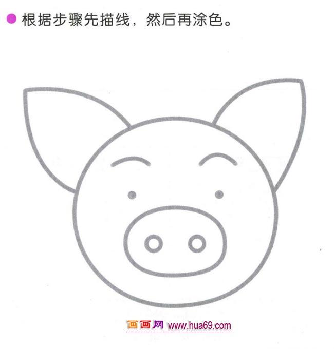 幼儿简笔画:四步画可爱的猪头的图解教程
