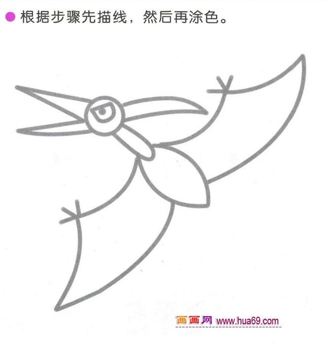 幼儿简笔画:四步画一只翼龙图解教程