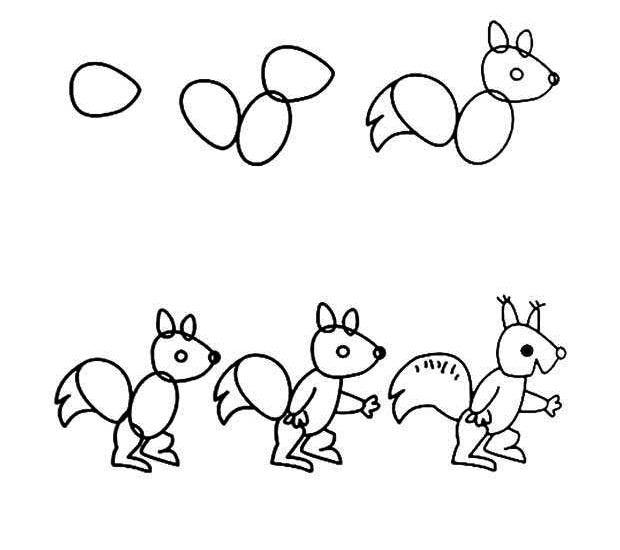 幼儿简笔画:小松鼠2