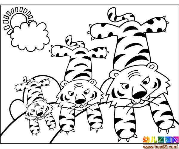 幼儿简笔画:小老虎的一家