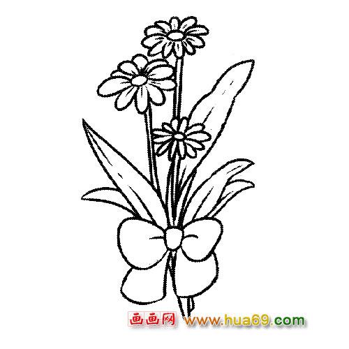 花卉简笔画 美丽的菊花花束-花草地简笔画图片大全 简笔画大全树木花