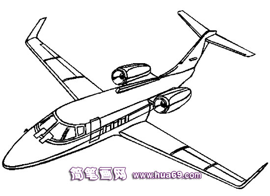 喷气式飞机简笔画